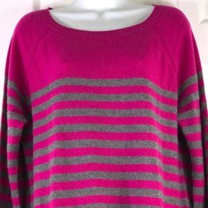 Halogen Sweater Cashmere Pink Gray Stripe Pullover